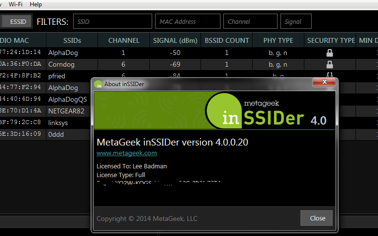 inSSIDer : Wi-Fi network discovery tool free download