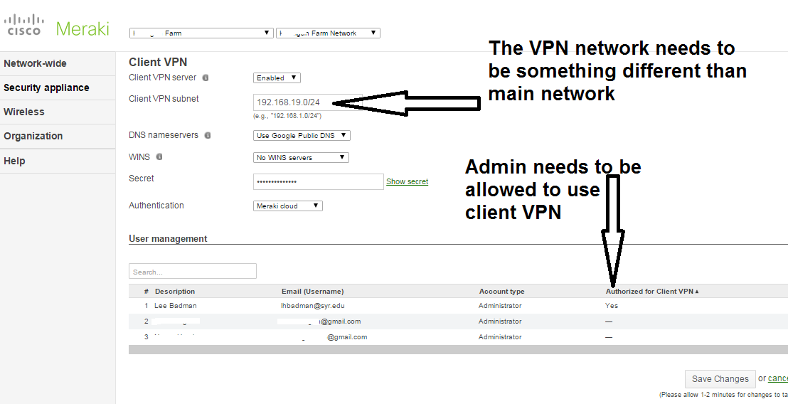 Loving Meraki Client VPN For Remote Administration | wirednot